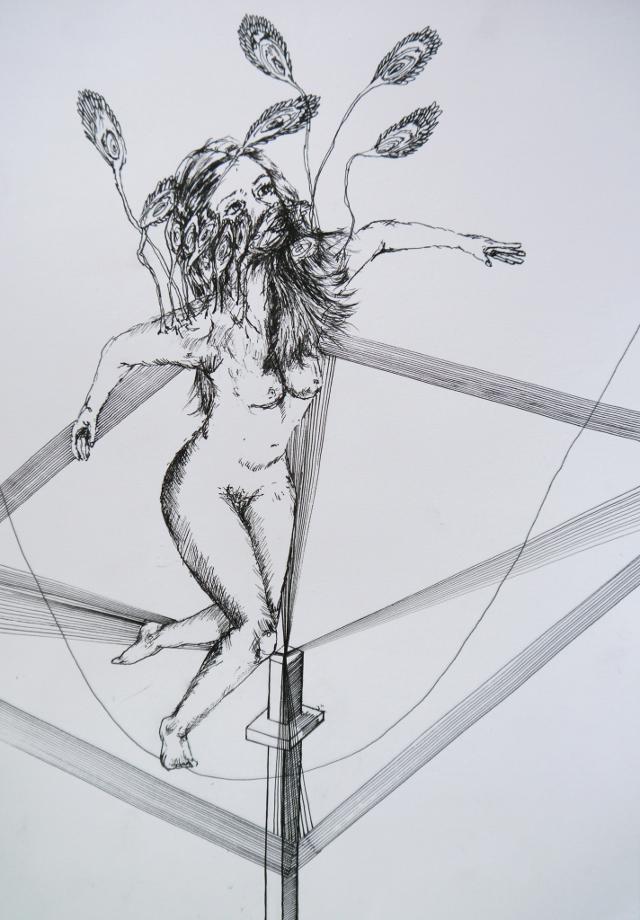 2014-Zeichnung-Kosmos-40-tanz-pfau-frau-nackt-Luisa-Pohlmann-Kunst-Berlin