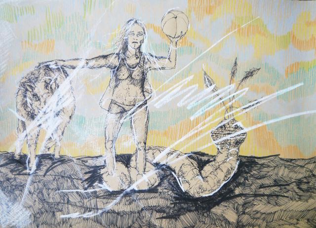 2014-Zeichnung-Kosmos-43-ball-wolf-schlage-frau-Luisa-Pohlmann-Kunst-Berlin