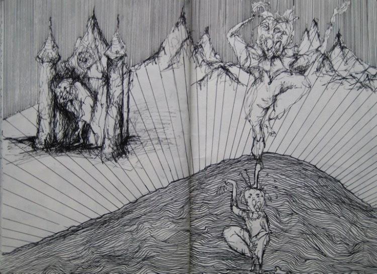 Skizzenbuch-1-Von einer die auszog,  das Fürchten zu lernen - Luisa - Pohlmann - Künstlerin - Berlin