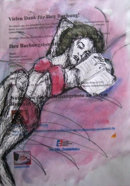 2008-Zeichnung-Farbe-12-Nutte-rote-Unterwäsche-Lesen-Luisa-Pohlmann-Kunst-Berlin