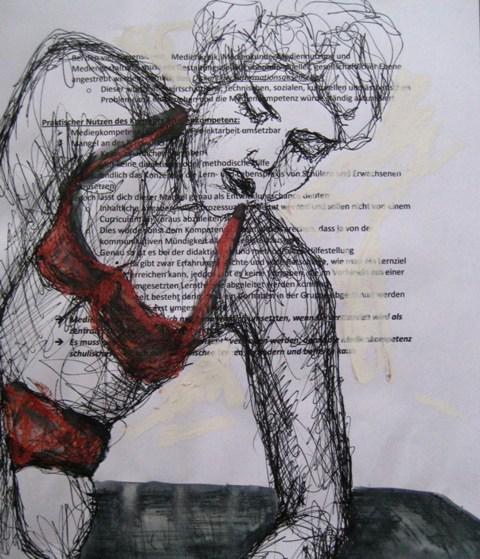 2008-Zeichnung-Farbe-3-Nutte-rote-Unterwäsche-Luisa-Pohlmann-Kunst-Berlin
