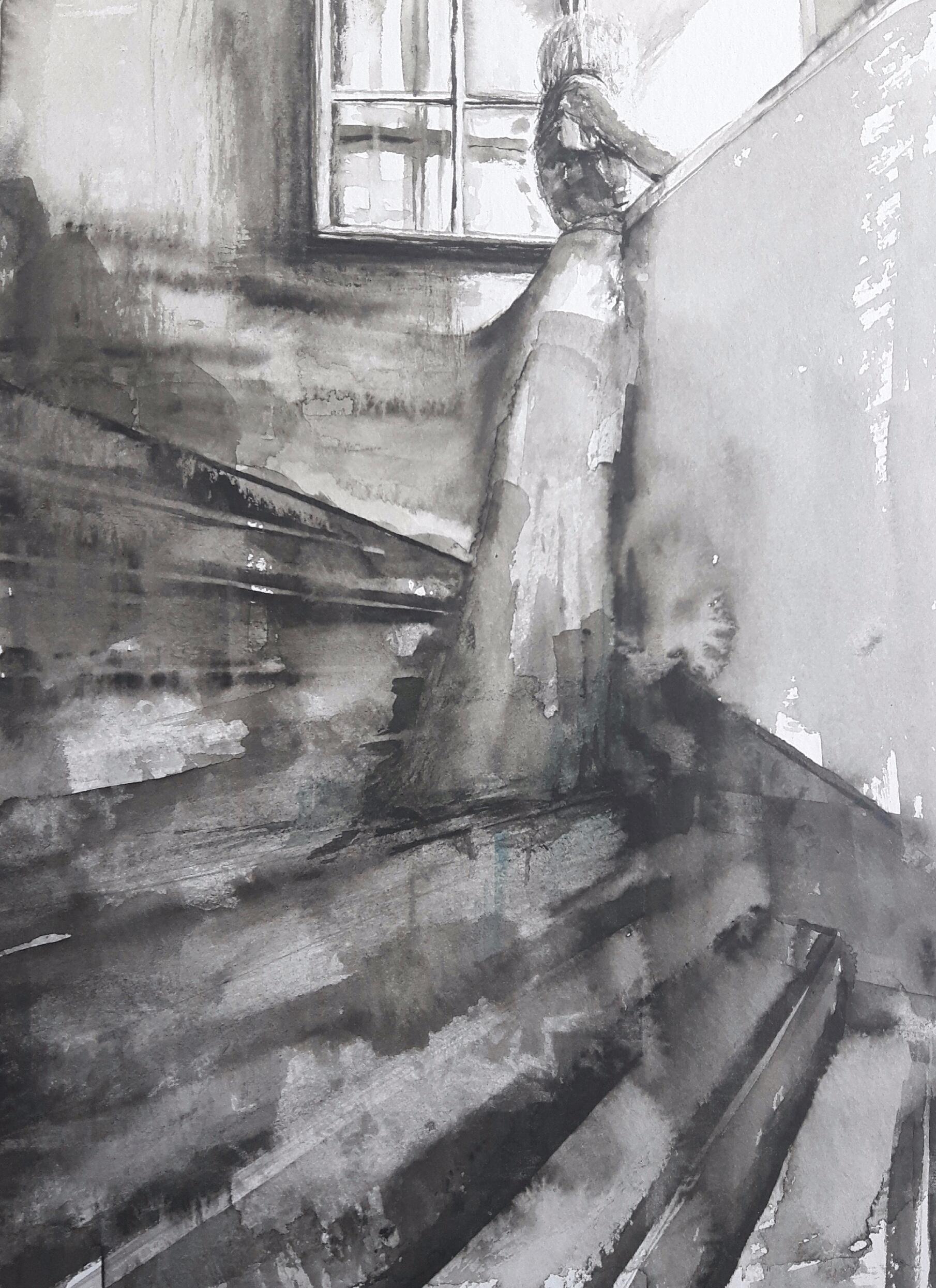 Aquarell regen Fenster Frau Kunst Malerei Zeichnung