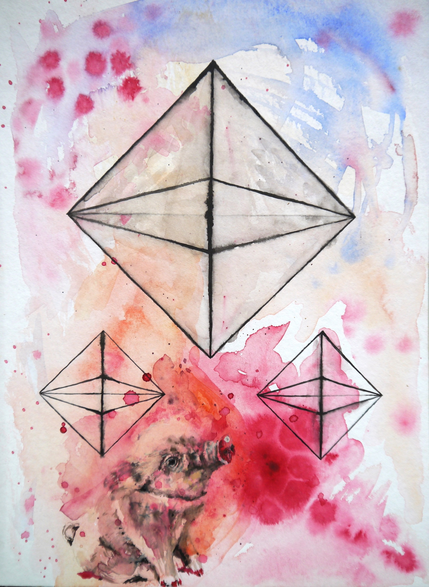 painting art space watercolor geometry geometrie aquarell cosmos cosmic malerei universe universum formen colorful silence aesthetic  kunst pic