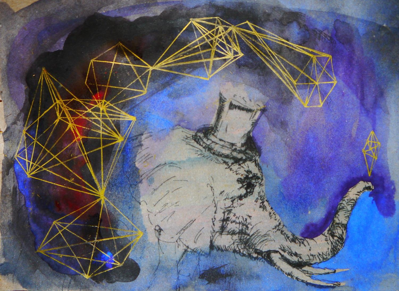 painting art space watercolor geometry geometrie aquarell cosmos cosmic malerei universe universum formen colorful silence aesthetic  kunst elephant