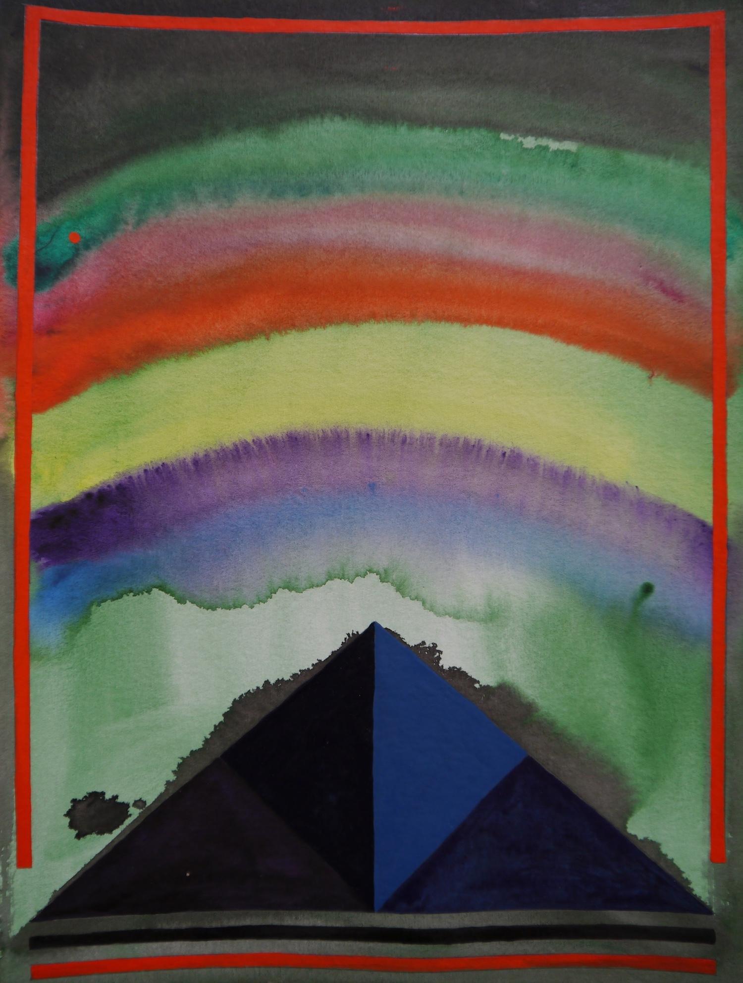painting art space watercolor geometry geometrie aquarell cosmos cosmic malerei universe universum formen colorful silence aesthetic  kunst pyramids rainbow