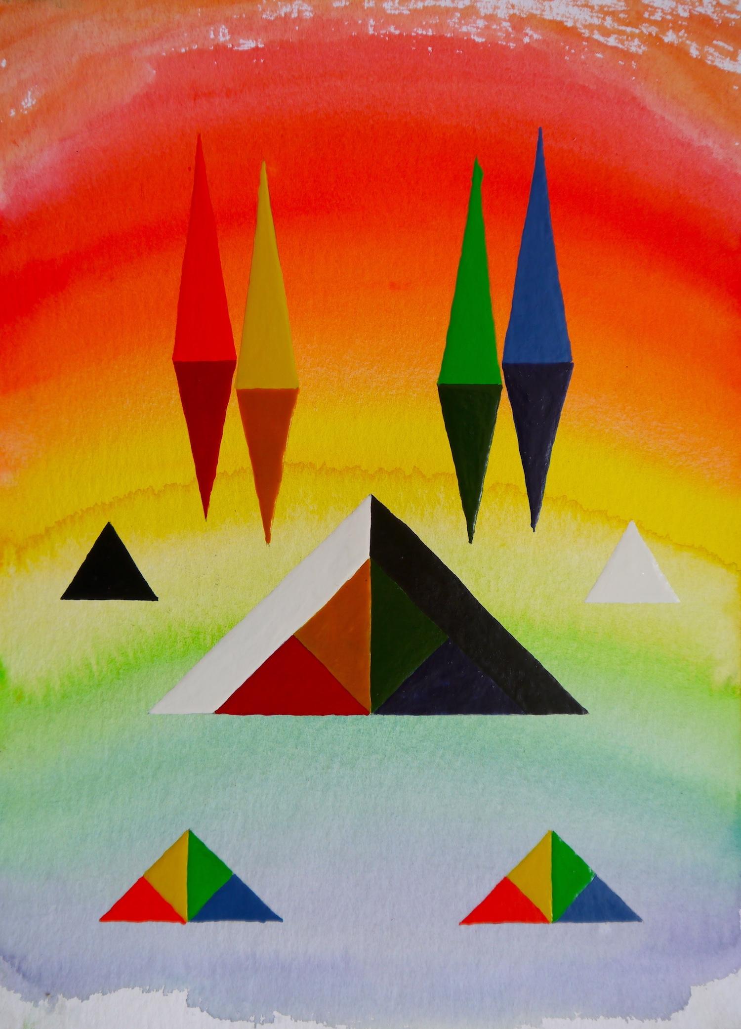 painting art space watercolor geometry geometrie aquarell cosmos cosmic malerei universe universum formen colorful silence aesthetic  kunst pyramids