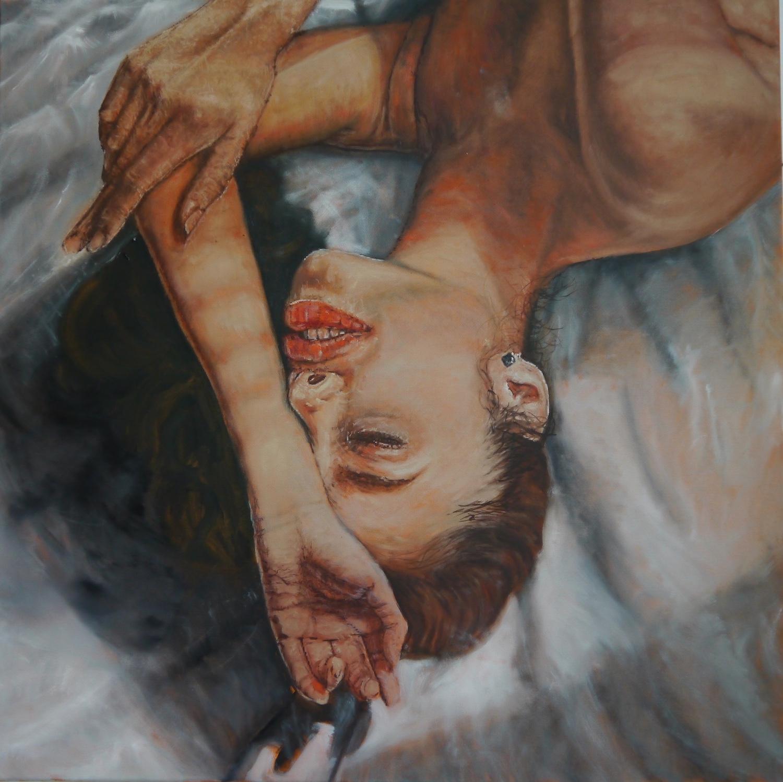 art hyperrealism lie around kunst malerei painting girl bed thinking bett love you