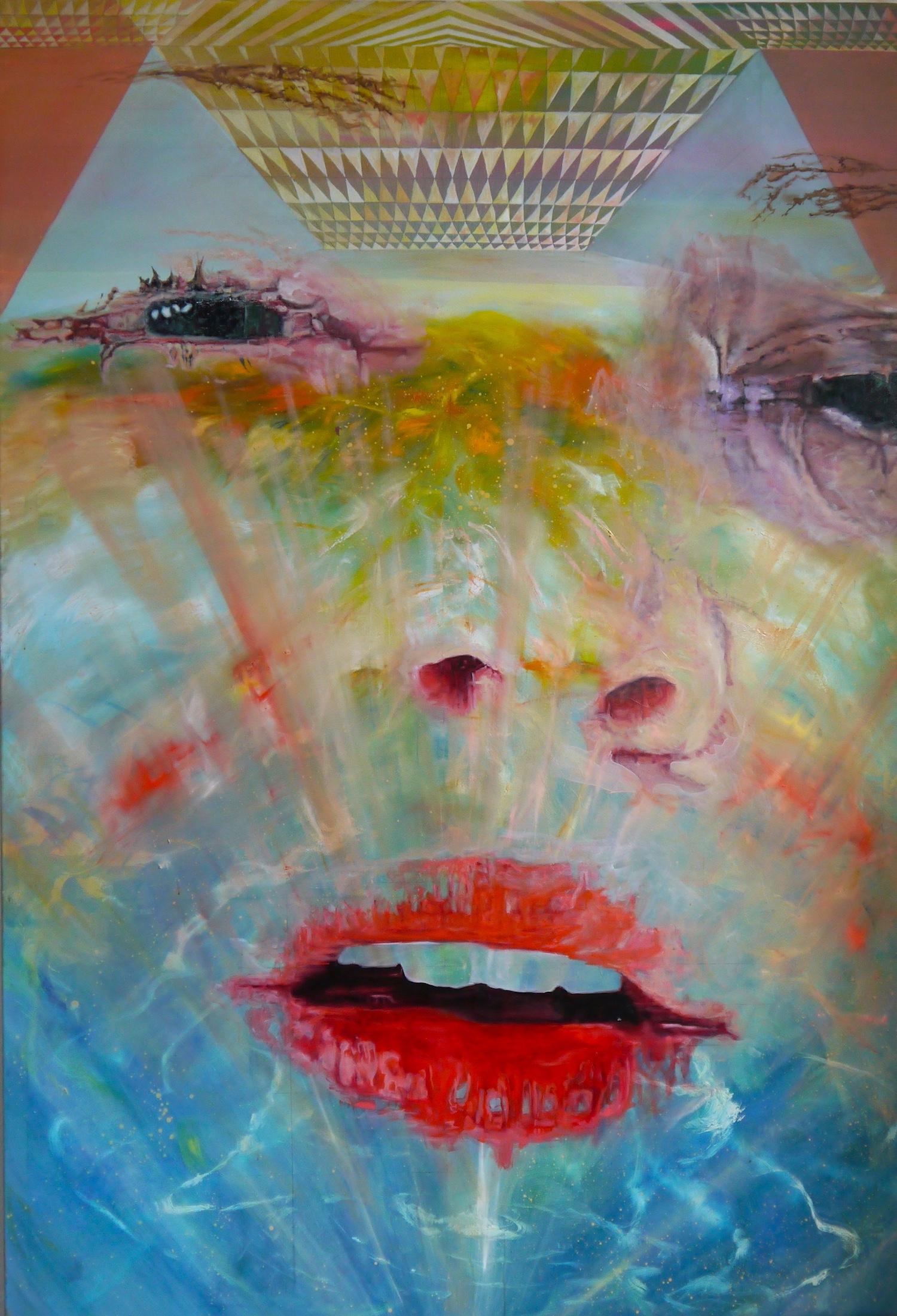 art hyperrealism lie around kunst malerei drift float treiben fliegen fly girl bed thinking bett love you