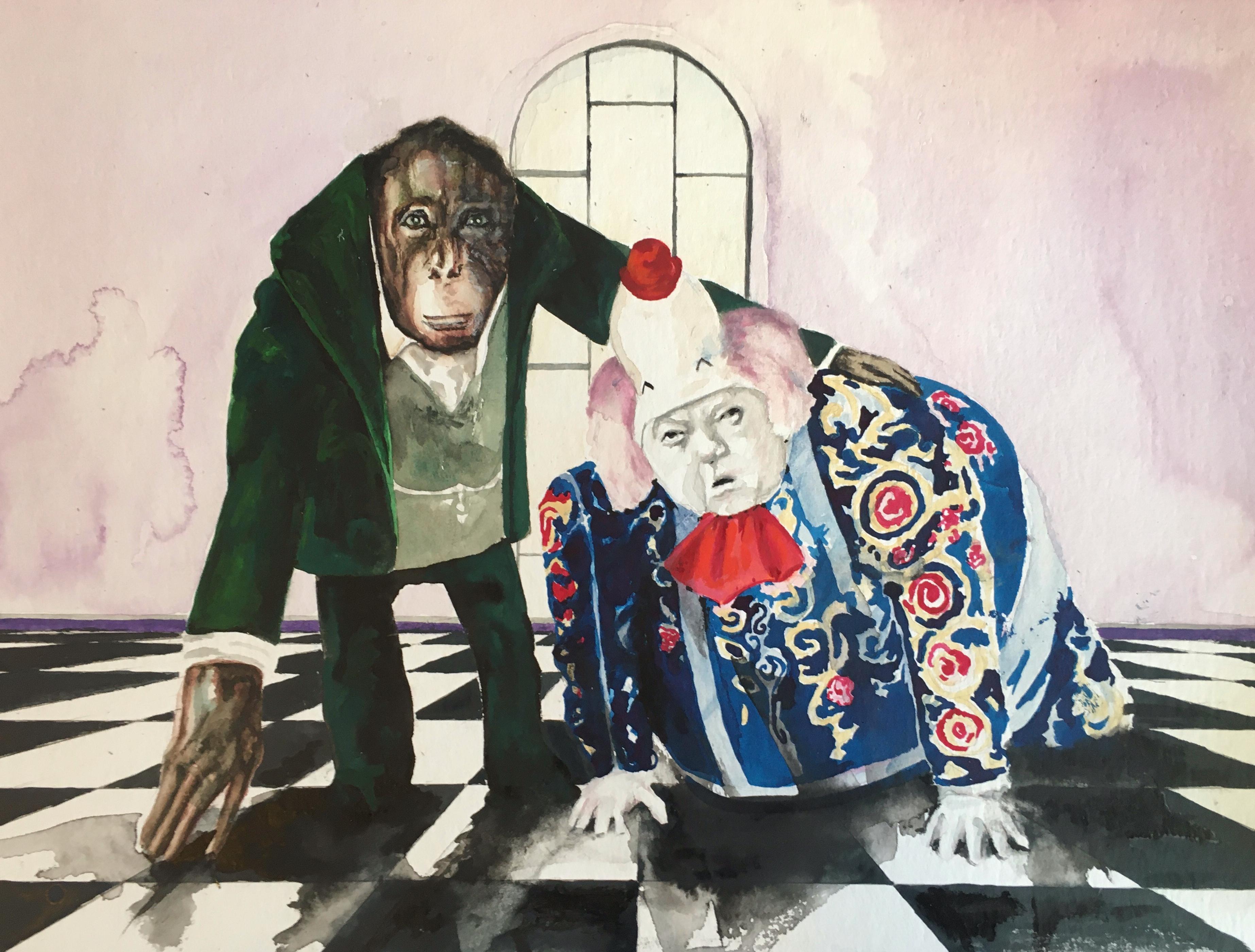 clown Schachbrett Boden linoleum aquarelle watercolours painter Berlin art Berlin affe money orang utan Kunst art Malerei painting oil painting hyperealistisch hyperrealism